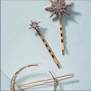 NWOT Anthropologie Crystal Hair Pin Set of 3